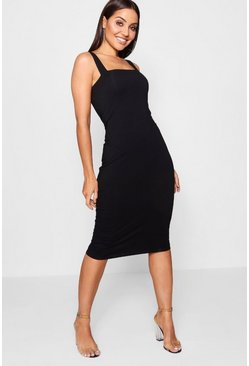 Womens Black Square Neck Bodycon Midi Dress