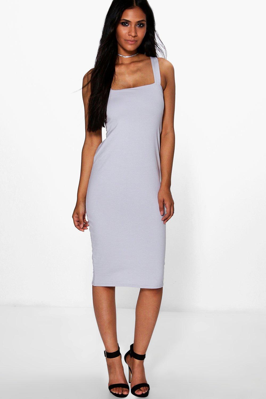 Dress Square Double Thai 100 Viscose: Boohoo Womens Jen Square Neck Bodycon Midi Dress