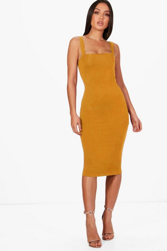 Mustard Square Neck Bodycon Midi Dress