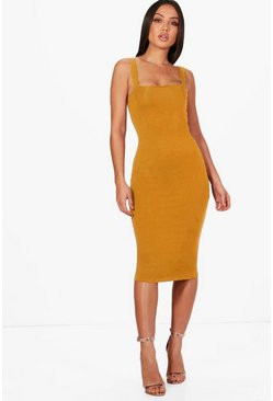 Womens Mustard Square Neck Bodycon Midi Dress
