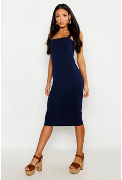 Womens Navy Square Neck Bodycon Midi Dress