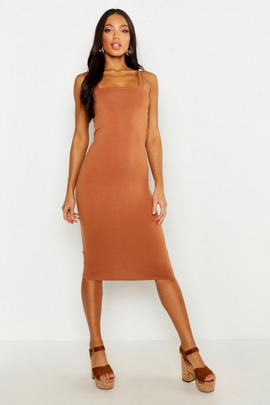 Toffee Square Neck Bodycon Midi Dress