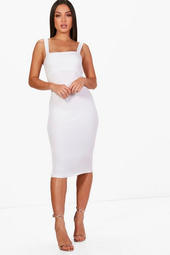 Square Neck Bodycon Midi Dress