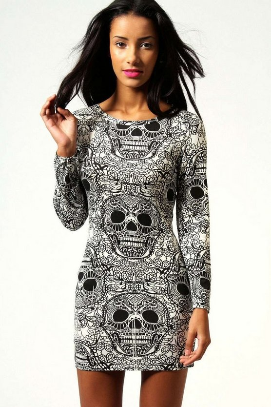 Halloween Skull Print Long Sleeve Bodycon Dress