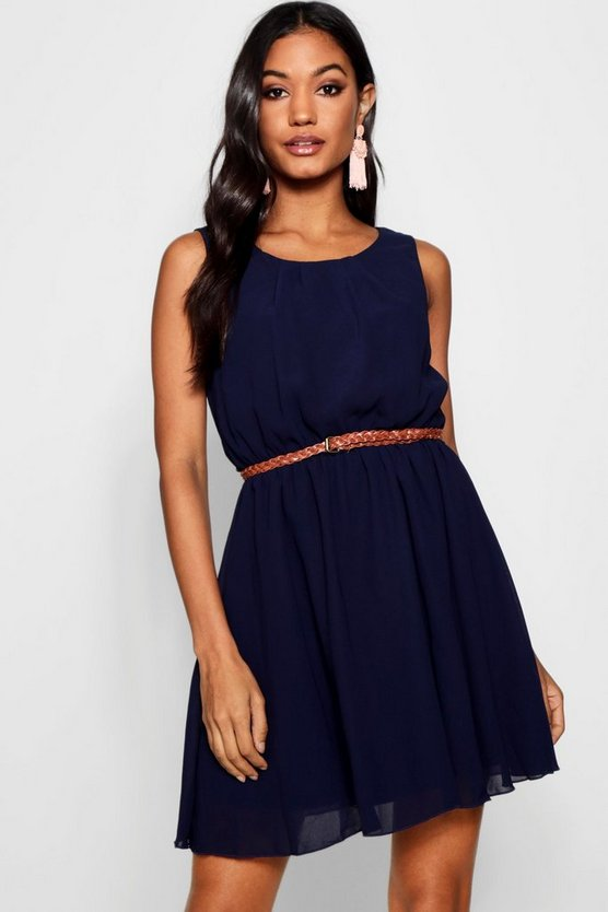 Womens Navy Sleeveless Chiffon Belted Skater Dress