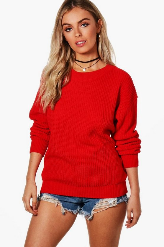 Womens Red Oversized Sweater
