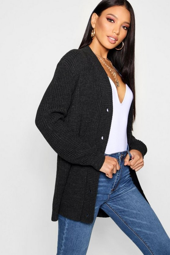 Womens Charcoal Knitted Cardigan