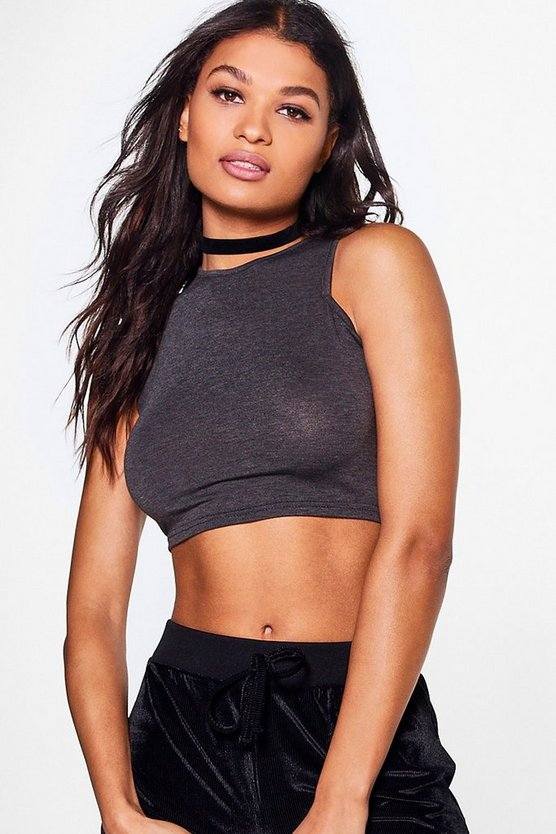 Sara Basic Slash Neck Crop Top
