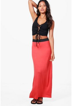 Womens Orange Contrast Waist Jersey Maxi Skirt