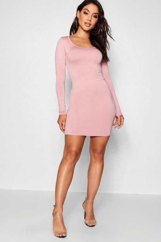 Antique rose Long Sleeve Scoop Neck Bodycon Dress