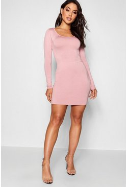 Womens Antique rose Long Sleeve Scoop Neck Bodycon Dress