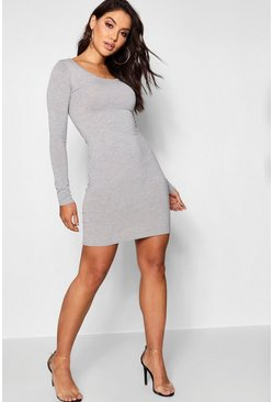 Womens Grey marl Long Sleeve Scoop Neck Bodycon Dress