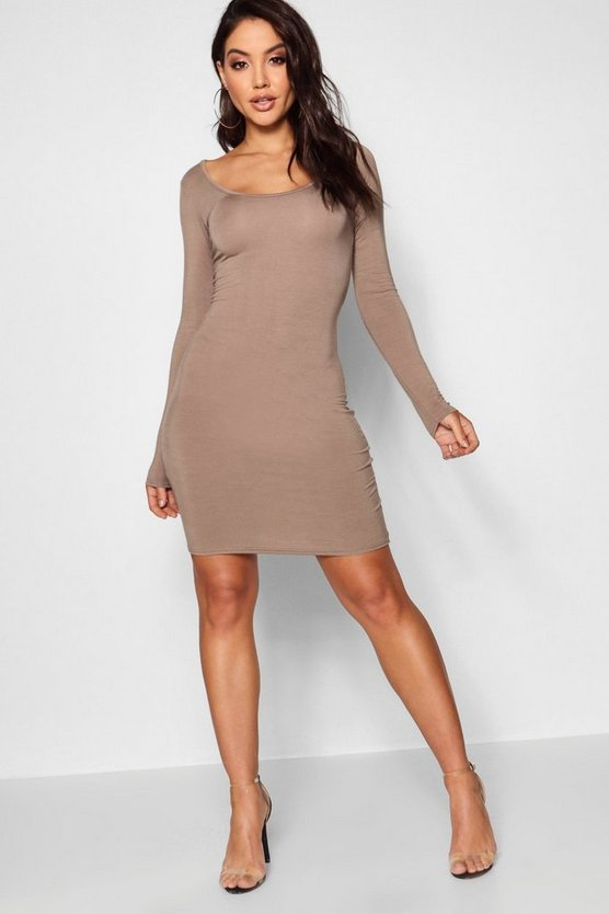 Womens Mocha Long Sleeve Scoop Neck Bodycon Dress