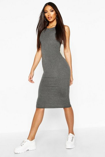 Womens Charcoal Sleeveless Midi Dress