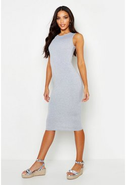 Womens Grey marl Sleeveless Midi Dress