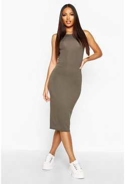 Womens Khaki Sleeveless Midi Dress