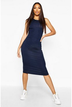 Navy Sleeveless Midi Dress