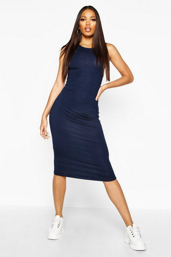 Womens Navy Sleeveless Midi Dress