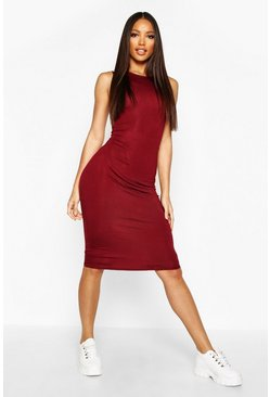 Womens Wine Sleeveless Midi Dress