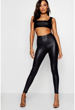 Womens Black Wet Look Leggings