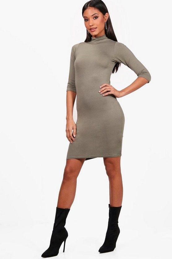 High Neck 3/4 Sleeve Bodycon Dress