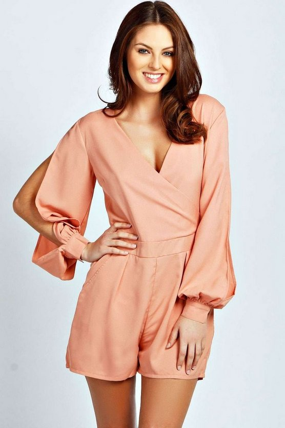 Womens Olivia Split Sleeve Cross Over Front Playsuit