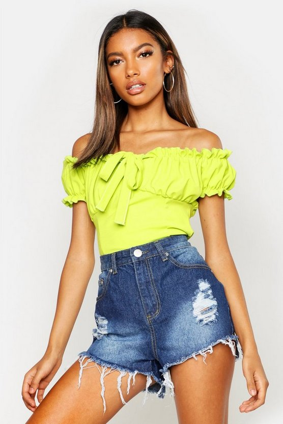 Stone Wash High Waist Ripped Denim Shorts