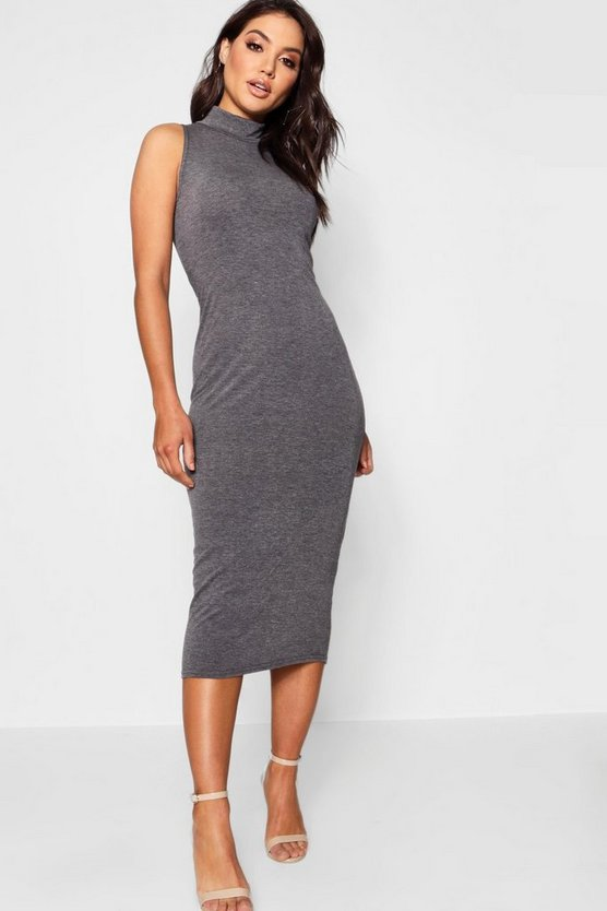 Turtle Neck Sleeveless Midi Bodycon Dress