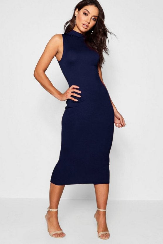 Womens Navy Turtle Neck Sleeveless Midi Bodycon Dress