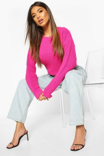 Womens Hot pink Oversized Vintage Jumper
