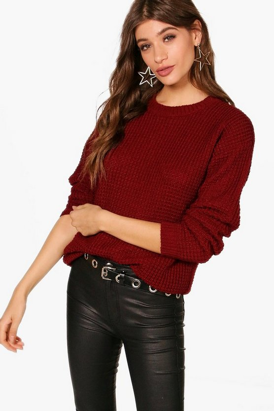 Womens Wine Oversized Vintage Jumper