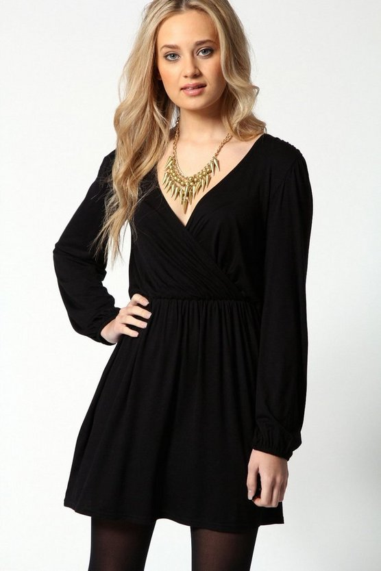 Jersey Long Sleeve Wrap Dress