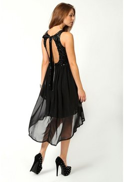 Black Sequin Chiffon Dip Hem Open Back Bridesmaid Dress
