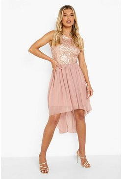 Blush Sequin Top Open Back Chiffon Dip Hem Dress