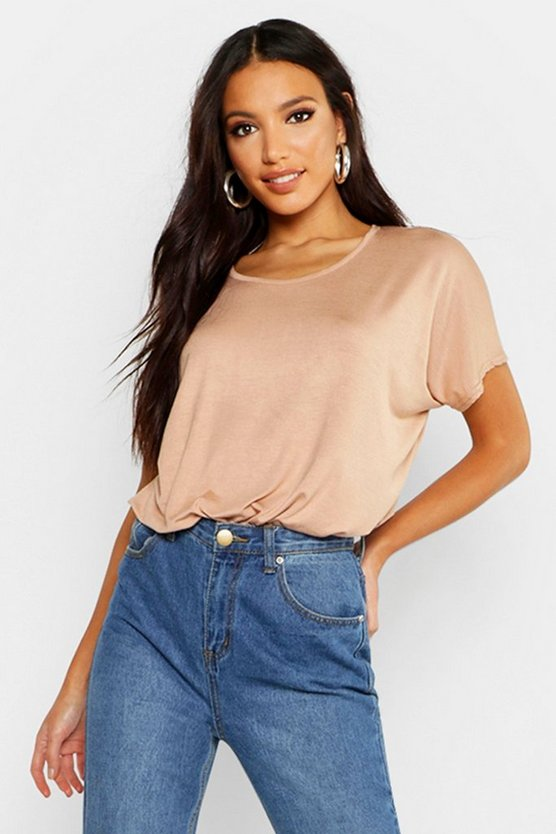 Womens Camel Basic Oversized T-Shirt