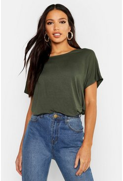 Womens Khaki Basic Oversized T-Shirt