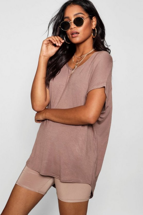 Womens Mocha Basic Oversized T-Shirt