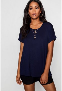 Womens Navy Basic Oversized T-Shirt