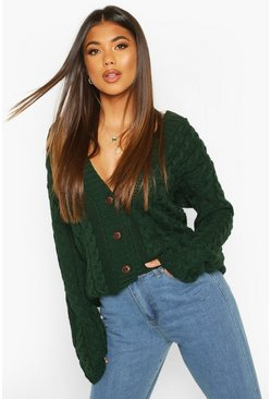 Bottle Cable Knit Cardigan