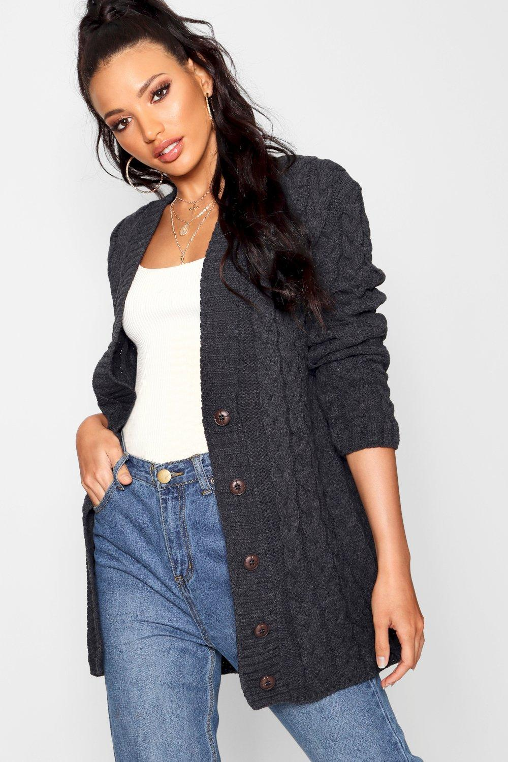 Boohoo Womens Lucy Cable Knit Cardigan   eBay