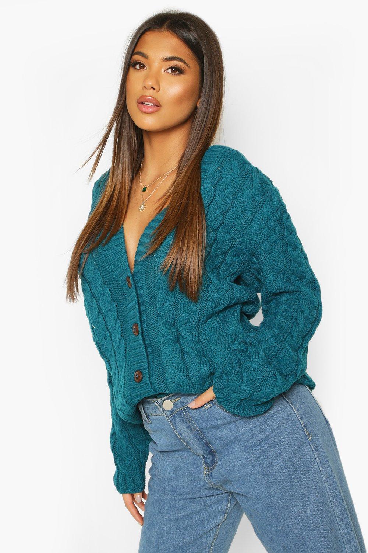 Vintage Sweaters: Cable Knit, Fair Isle Cardigans & Sweaters Womens Cable Knit Cardigan - green - ML $58.00 AT vintagedancer.com