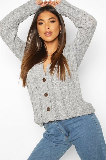 Womens Grey marl Cable Knit Cardigan