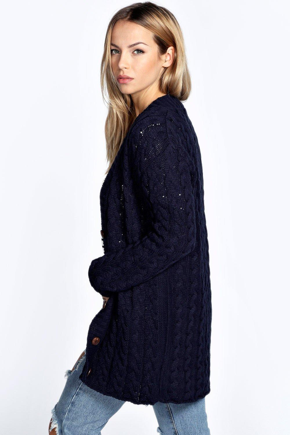 Boohoo Womens Lucy Cable Knit Cardigan | eBay
