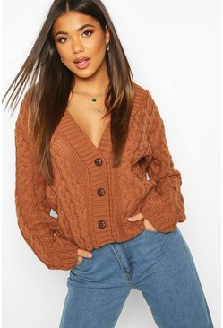 Toffee Cable Knit Cardigan