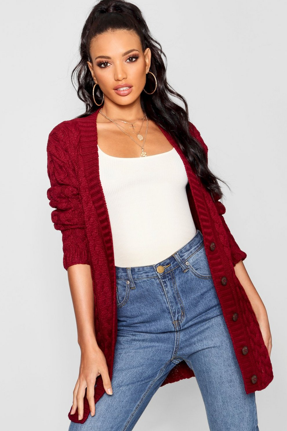 Cable Knit Cardigan Boohoo