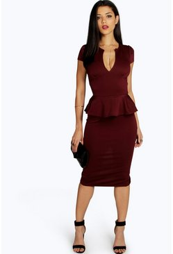 Womens Berry Emily Slit Neck Cap Sleeve Peplum Midi Dress