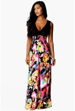 Tall Maxikleid in Rosen-Print, Schwarz