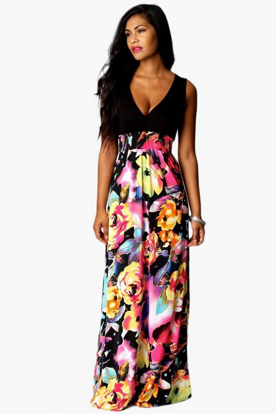 Womens Black Rose Print Maxi Dress