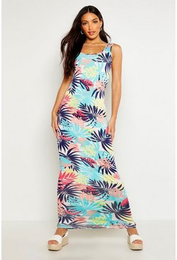 Womens Multi Tropical Print Scoop Neck Maxi Dress