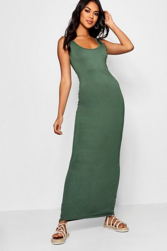 Womens Khaki Maxi Dress